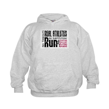 Real Athletes Run - Female Kids Hoodie