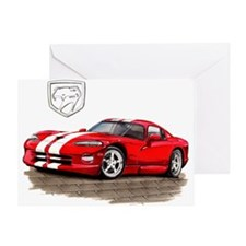 Viper Red/White Car Greeting Card