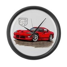 Viper Red Car Large Wall Clock
