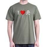 I Love Pirates Black T-Shirt