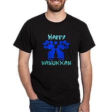 Cat Menorah 2 Black T-Shirt