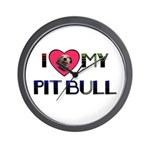 I LOVE MY PIT BULL  Wall Clock