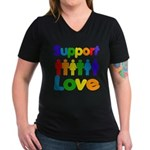 Support Love Women's V-Neck Dark T-Shirt