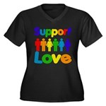 Support Love Women's Plus Size V-Neck Dark T-Shirt