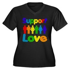 Support Love Women's Plus Size V-Neck Dark T-Shirt