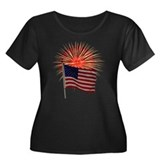 Flag and Fireworks Women's Plus Size Scoop Neck Da