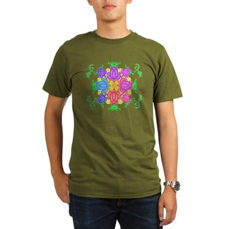 Flower Turtles Organic Men's T-Shirt (dark)
