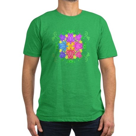 Flower Turtles Men's Fitted T-Shirt (dark)