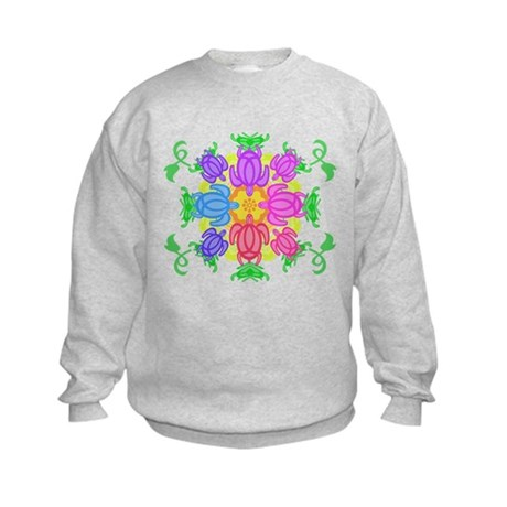 Flower Turtles Kids Sweatshirt