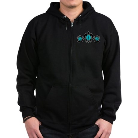 Three Cat's Eye Turtles Zip Hoodie (dark)