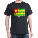 Togo Flag (Front) Black T-Shirt