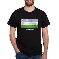 Uzbekistan Flag (Front) Black T-Shirt