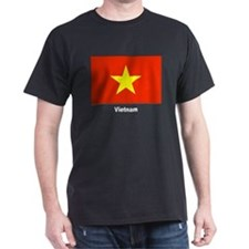 Vietnam Flag (Front) Black T-Shirt