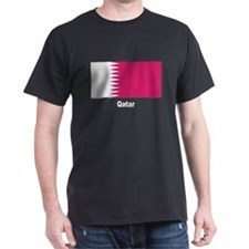 Qatar Flag (Front) Black T-Shirt