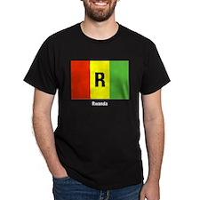 Rwanda Flag (Front) Black T-Shirt