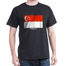 Singapore Flag (Front) Black T-Shirt