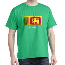 Sri Lanka Flag (Front) Black T-Shirt