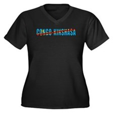 Congo-Kinshasa Women's Plus Size V-Neck Dark T-Shi