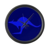 Cute Blue kangaroo Large Wall Clock