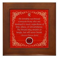 Unique Red thread Framed Tile