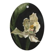White Orchid Oval Ornament