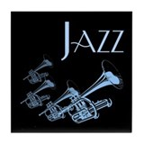 Jazz Trumpet Blue Tile Coaster