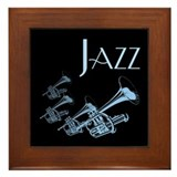 Jazz Trumpet Blue Framed Tile