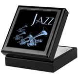 Jazz Trumpet Blue Keepsake Box