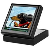 Dachshund Takes the Wheel Keepsake Box