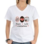 Peace Love Journalism Women's V-Neck T-Shirt