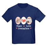 Peace Love Journalism Kids Dark T-Shirt