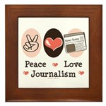 Peace Love Journalism Framed Tile