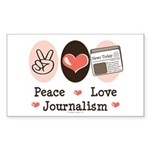 Peace Love Journalism Rectangle Sticker