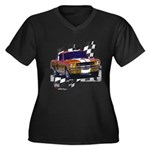 1966 Mustang Women's Plus Size V-Neck Dark T-Shirt