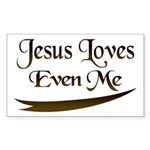 Jesus Loves Even Me Rectangle Sticker