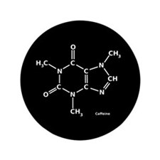 "2D Caffeine Molecule 3.5"" Button (100 pack)"