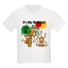 Monkey 6th Birthday T-Shirt