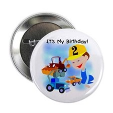 "Construction 2nd Birthday 2.25"" Button"