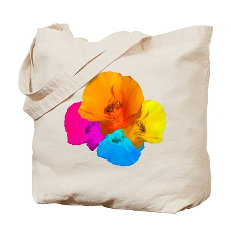 Honeybee Poppy Art Tote Bag