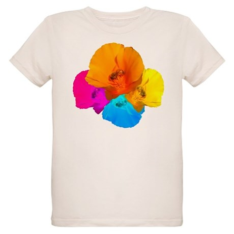 Honeybee Poppy Art Organic Kids T-Shirt