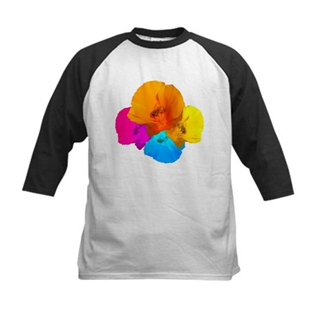Honeybee Poppy Art Kids Baseball Jersey