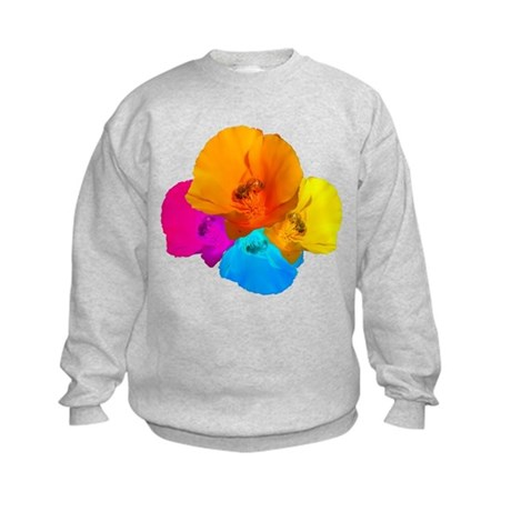 Honeybee Poppy Art Kids Sweatshirt
