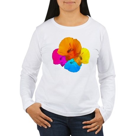 Honeybee Poppy Art Women's Long Sleeve T-Shirt