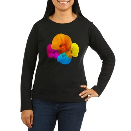 Honeybee Poppy Art Women's Long Sleeve Dark T-Shir