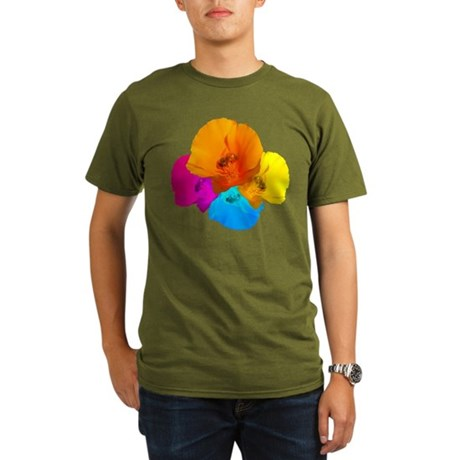 Honeybee Poppy Art Organic Men's T-Shirt (dark)
