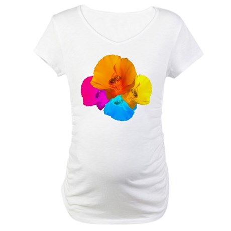 Honeybee Poppy Art Maternity T-Shirt