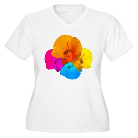 Honeybee Poppy Art Women's Plus Size V-Neck T-Shir
