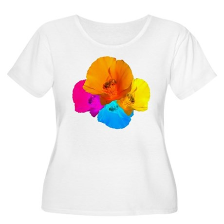 Honeybee Poppy Art Women's Plus Size Scoop Neck T-