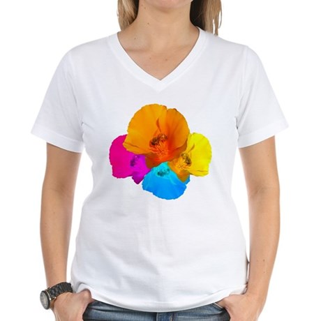 Honeybee Poppy Art Women's V-Neck T-Shirt