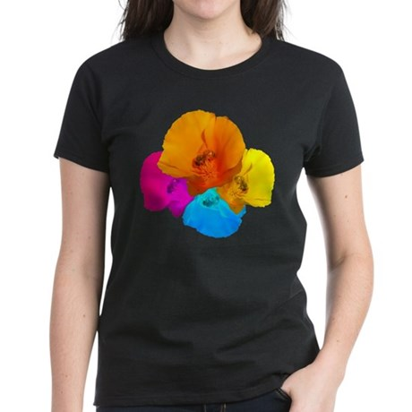 Honeybee Poppy Art Women's Dark T-Shirt